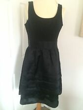 White House/Black Market Black Silk Cocktail Dress With Layered Skirt, Size 12!