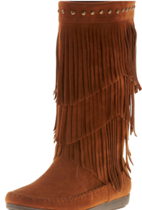 NEW RAMPAGE CAMBRA COGNAC FRINGE MOCCASIN BOOTIES BOOTS WOMENS 6.5 MID HIGH
