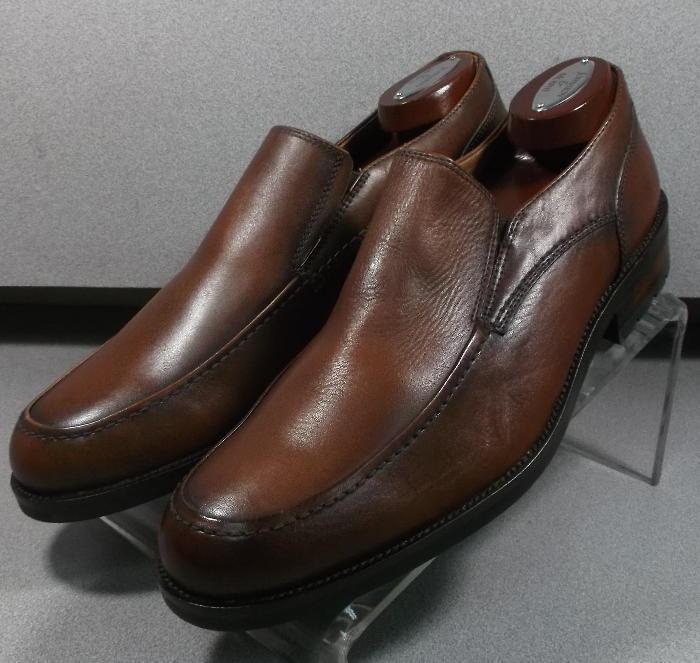 201596 DS50 Men's shoes Size 9 M Dark Tan Leather Slip On Johnston & Murphy