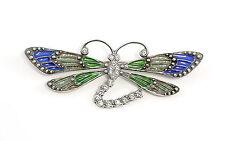 925er Silber emaillierte Jugendstil-Brosche Libelle m. Swarovski-Steinen 9901591