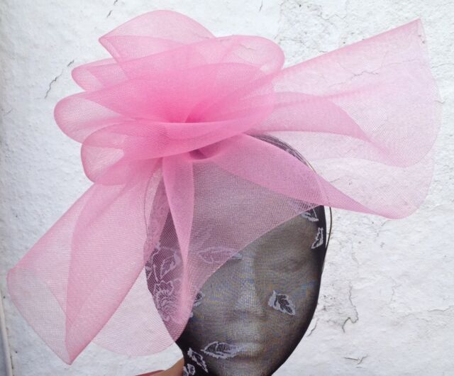 39c76b37 baby pink fascinator millinery burlesque wedding hat ascot race bridal party  1