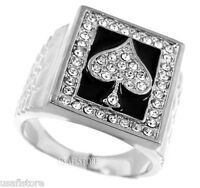 Mens Ace Of Spades Rhodium Plated Poker Ring