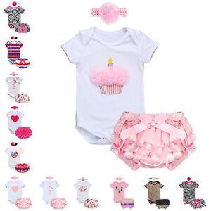 3PCS Baby Girl 1st Birthday Crown Romper Bloomers Pants+Headband Outfits Set