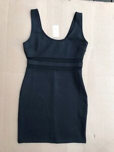 Forever-21-Sexy-Black-Sheer-Mesh-Sleeveless-Bodycon-Dress-STRETCH-SIZE-L