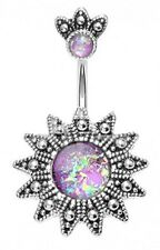 Belly Button Ring Navel Antique Opal Sunburst 14g