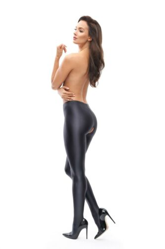MissO Wet Look Open Crotch Gloss Glossy Opaque Tights 120 Den Lycra P800 Black