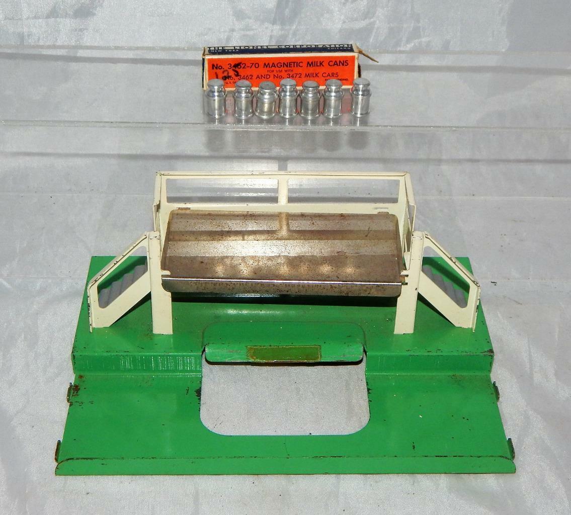 De posguerra Tren Lionel Plataforma de coche de leche de 3462P y 3462-70 latas en caja de venta por separado