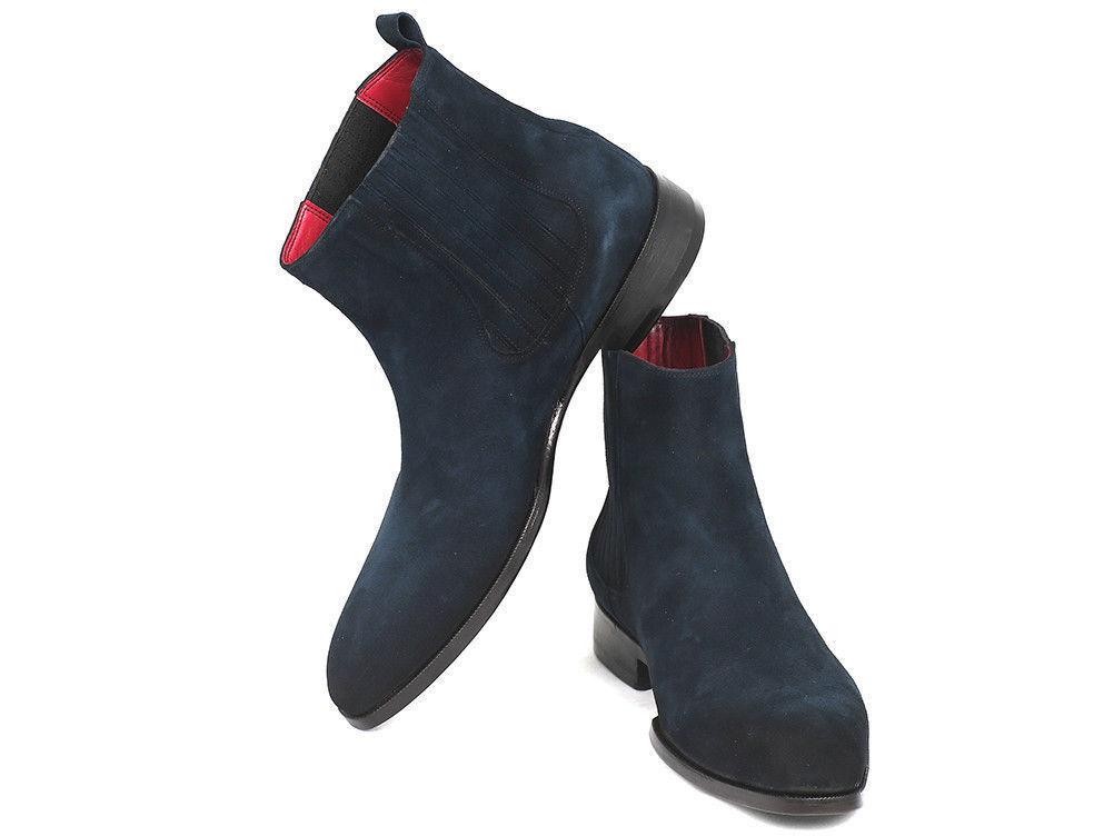 herren Fatto A A A Mano Scamosciato Pelle schuhe Navy Blau Moda Alto Caviglia Stiefel 8545a7