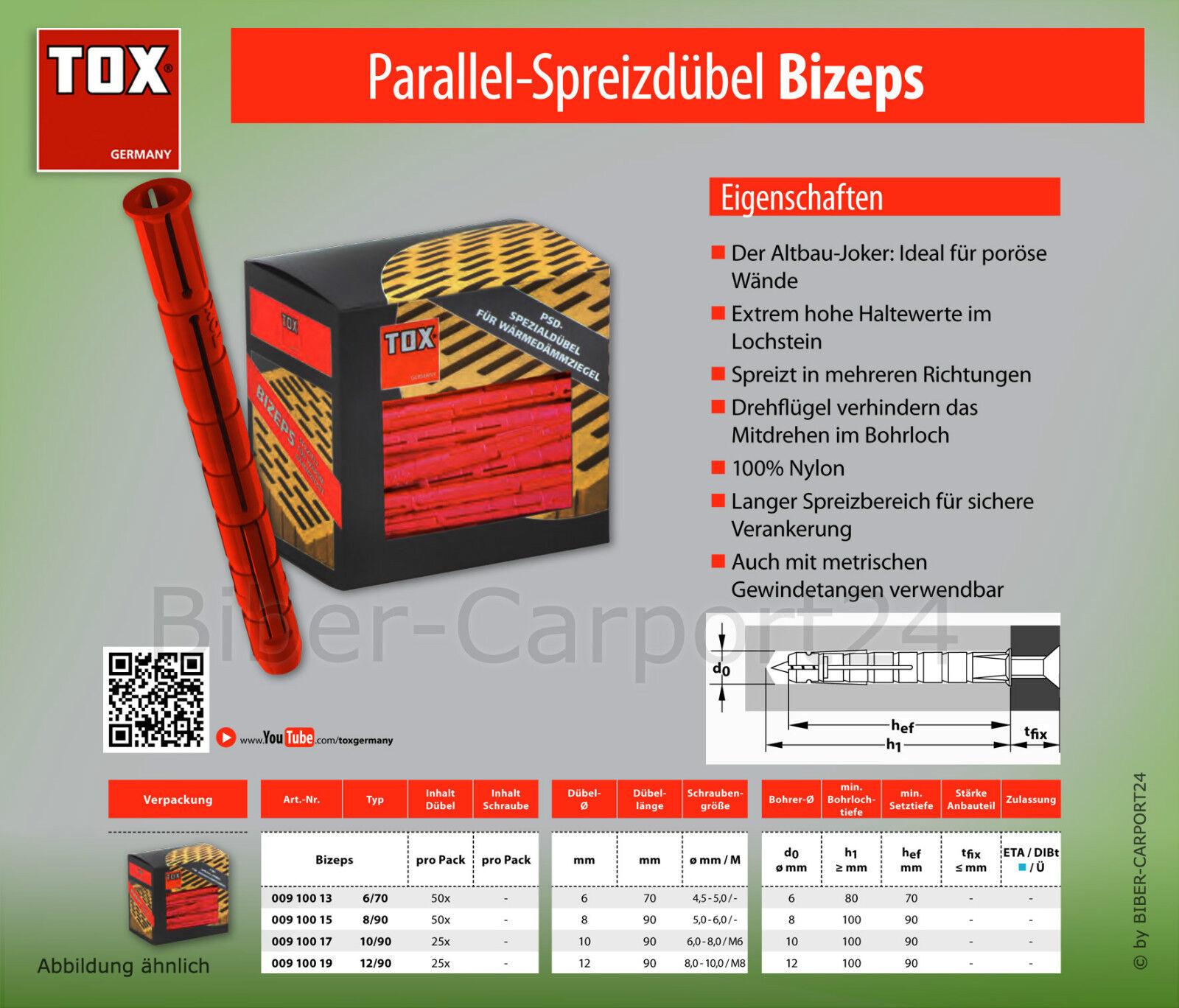 Tox Tox Tox BIZEPS, 6 70-12 90 Parallel-Spreizdübel, 8 90 10 90 PSD für Gewindestangen | Verschiedene Stile und Stile  4c895f