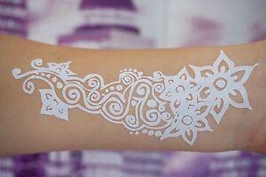 Flash-White-Lace-Henna-Tattoos-WEISS-fuer-Hand-und-Finger-temporaeres-Tattoo-W301