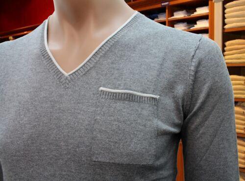 maglia scollo V uomo Nazareno Gabrielli in lana grigio medio PRF Made in Italy