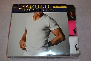 Polo-Ralph-Lauren-Set-of-3-Classic-Fit-Cotton-V-Necks-T-Shirts-Size-Large-NIB
