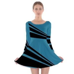 Stripes Teal Modern A-Line Skater Dress - Size and Sleeve Options  f1197ed2f