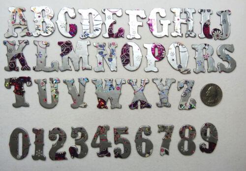 """1.25/"""" Antique Font 60 pcs Foil and Holographic Christmas Chipboard Alphabet set"""