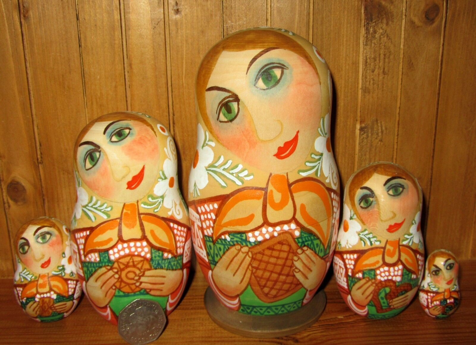 Bambole Matrioska Dalla Russia 5 Dipinto a Mano OPACO Bambine & Biscotti