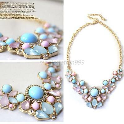 Elegant Resin Flower Crystal Pendant Bubble Choker Chunky Statement Bib Necklace