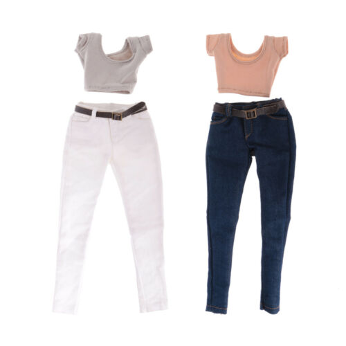 1:6 Scale T-shirt White Jeans Pants for 12/'/' Hot Toys Phicen Kumik Figures