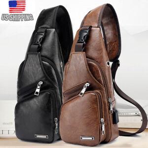 US-Mens-Black-Leather-Crossbody-Bag-Single-Shoulder-Bag-USB-Sports-Chest-Bag
