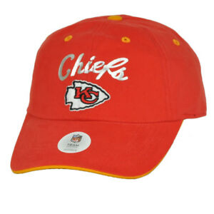 Kansas-City-Chiefs-Foil-Logo-Womens-Red-Curved-Bill-Hat-Cap-Relaxed-Adjustable