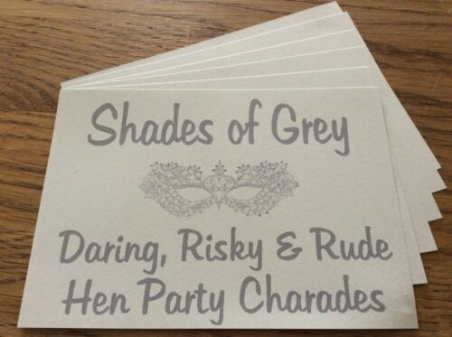 *ADULTS ONLY* 30 CARDS HEN PARTY CHARADES SHADES OF GREY VERY RUDE /& RISKY!!