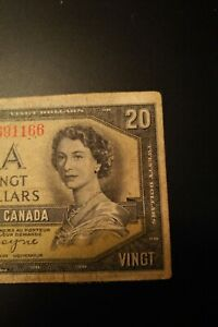 1954-Devil-039-s-Face-20-Dollar-Bank-of-Canada-Banknote-CE3691166