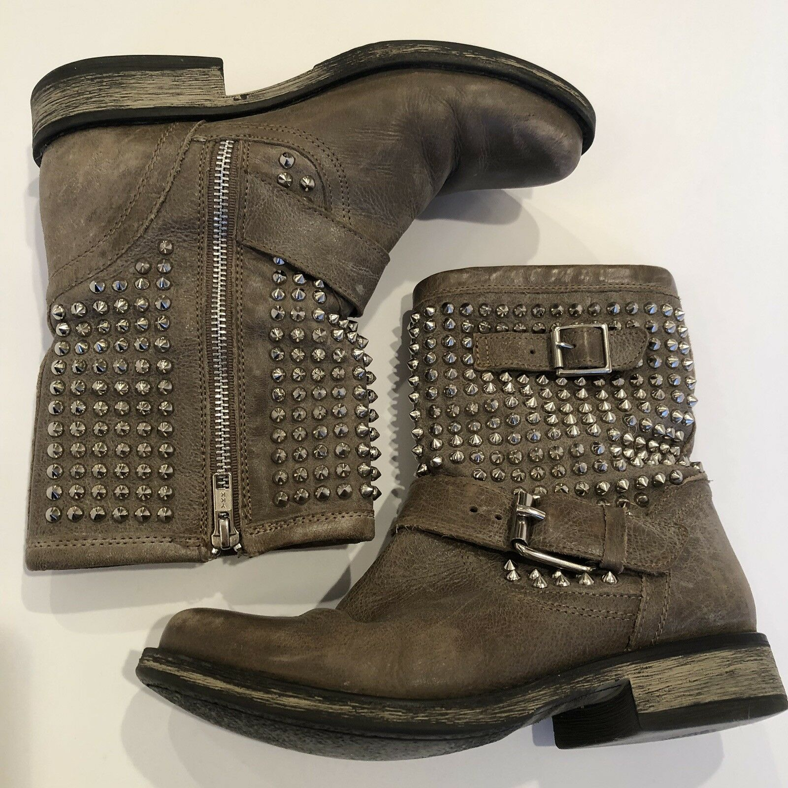 Steve Madden Stiefel Monicaa Leather Leather Leather Studded Mid Calf biker 7.5M 4bcb2f