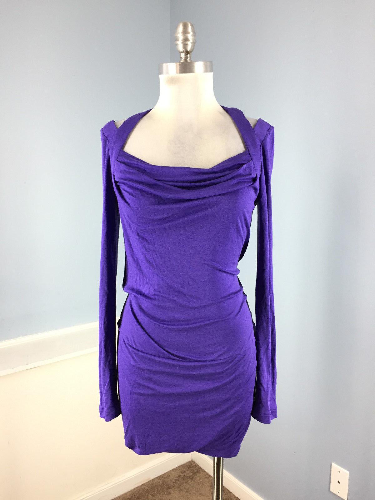 9142183c3a2f5 BCBG BCBGMaxazria Purple Cold Shoulder XS Sheath Sheath Sheath dress long  sleeve Persian EUC 6849cb