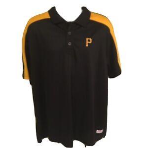 Stitches-Mens-Pittsburgh-Pirates-Polo-Shirt-Black-Yellow-MLB-2XL-XXL-Free-Ship