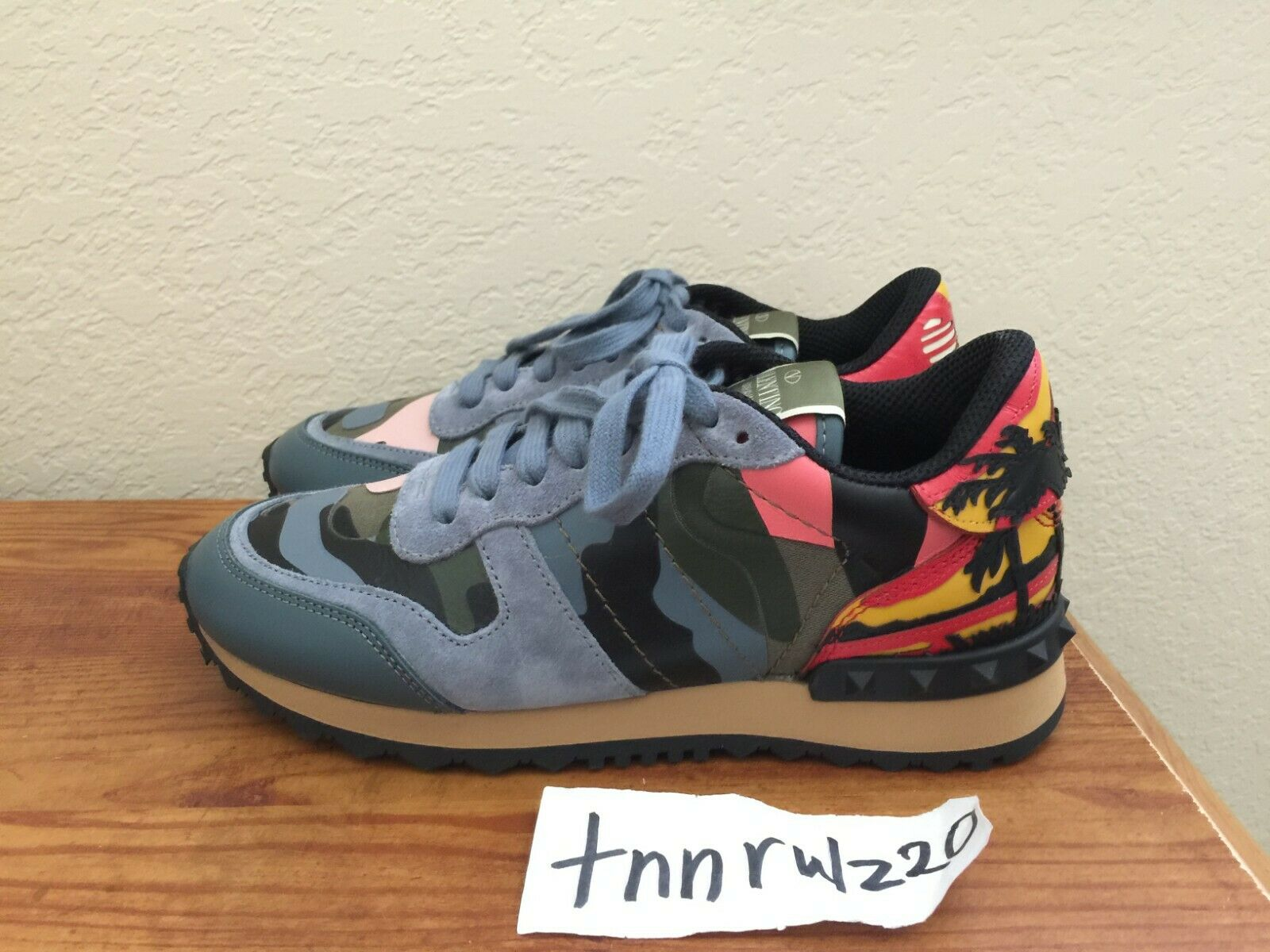 New Authentic bluee bluee bluee Camo VALENTINO GARAVANI Rockstud Roadrunner Sneakers 6 6.5 bfa381