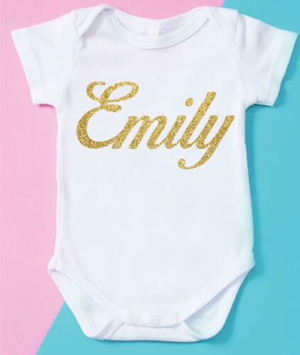 Personalised Name Baby grow clothing bodysuit Birthday Photoshoots Christmas 07