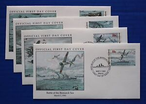 Marshall Islands (331-334) 1993 WWII: Battle of the Bismarck Sea Official FDCs