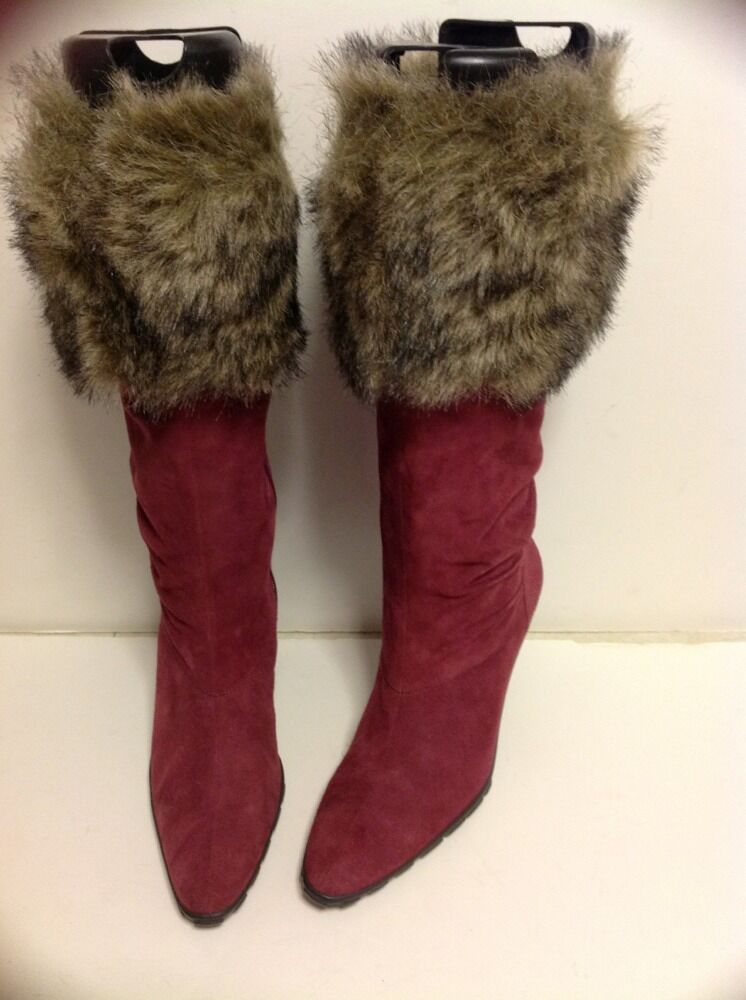 MODA BOOTS NEW WITHOUT BOX SIZE 6 M FAUX FUR  ROSE PINK COLOR SUEDE