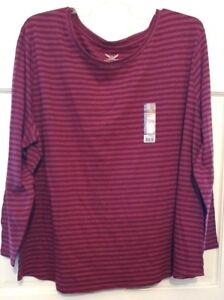 Womens-Top-Burgundy-Faded-Glory-Round-Neck-Horizontal-Lines-Comfort-Plus-NWT-5X