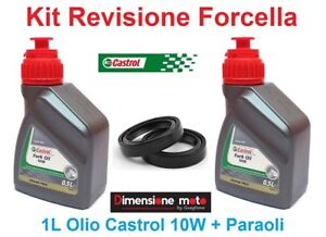 040-Kit-Castrol-Fork-Oil-10W-Paraoli-Forcella-GILERA-RX-200-dal-1983-gt-1984