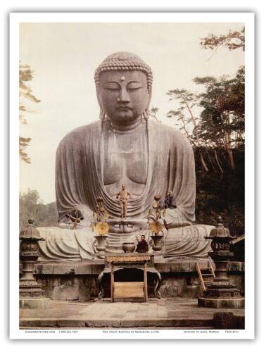 Great Buddha Kamakura Japan Statue Vintage Religious Art Poster Print