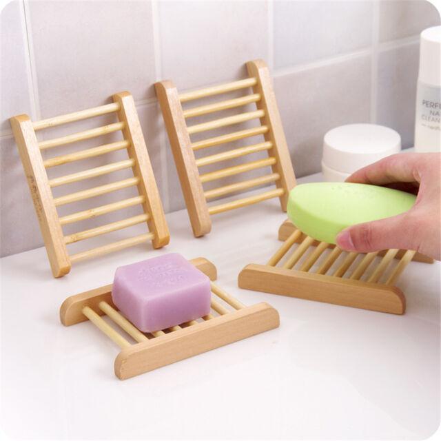 Soap Dish Drain Tray Holder Sponge Plate Natural Wood Home Bathroom Storage Rack