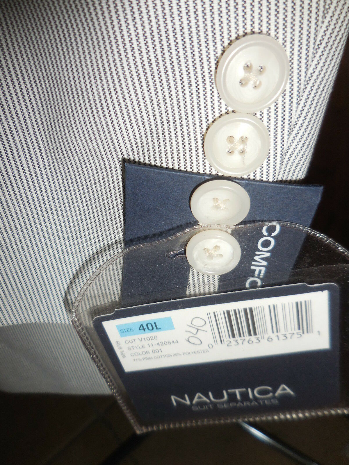 NAUTICA NEW PINCORD Sport Coat  bluee White Stripe NWT 40 L Preppy Impeccable