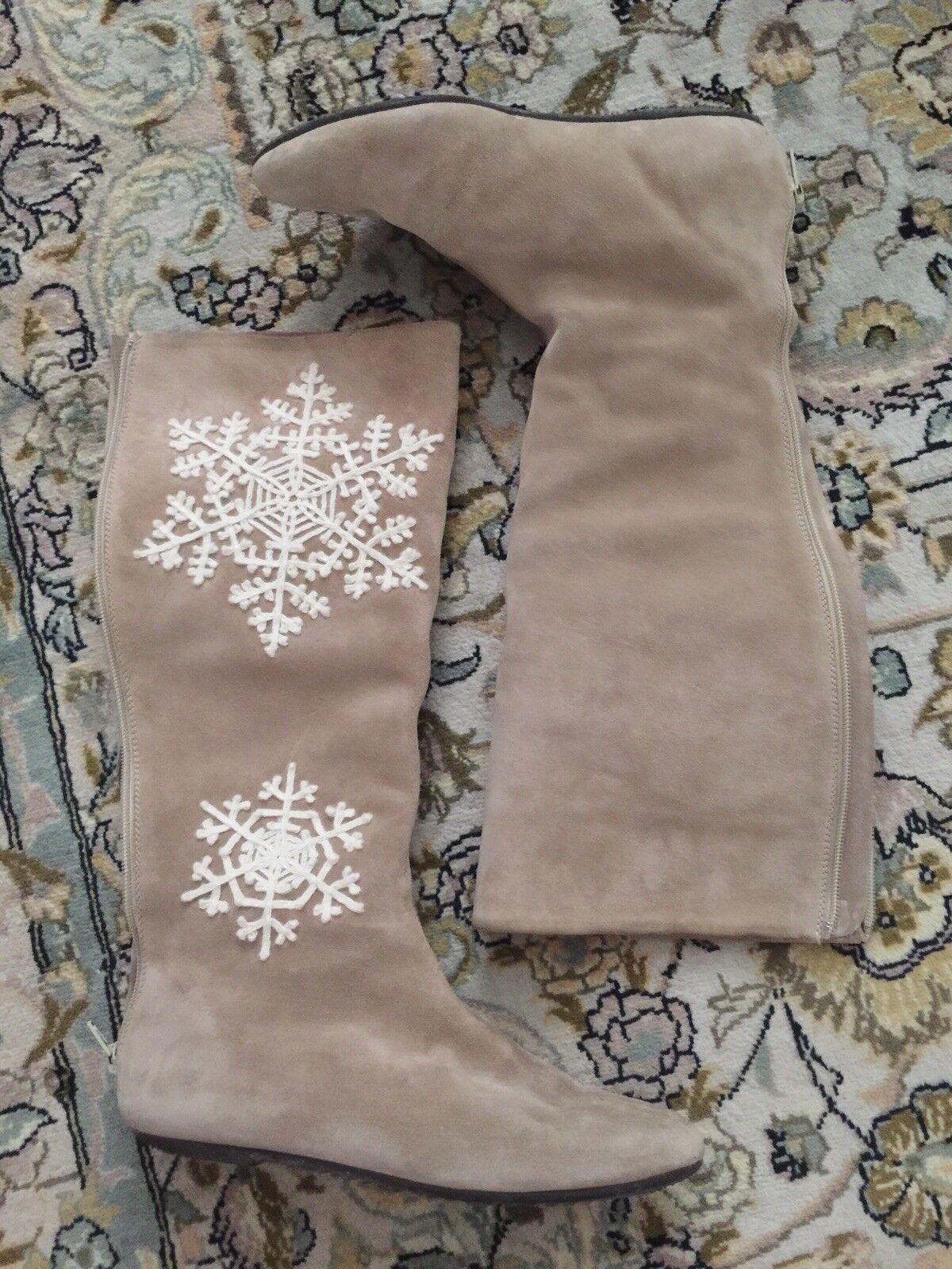 Malo  Shearling Sheep Skin Suede Beige Snowflake Flat Stiefel 36  6