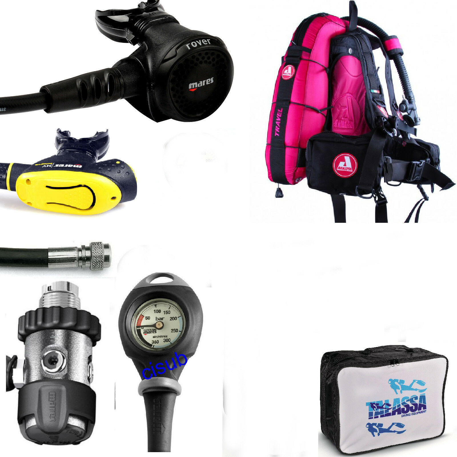 LO3 67 KIT Mares Regulator ROVER 2S DIN300 + BCD AUDAXPRO TRAVEL FUCSIA
