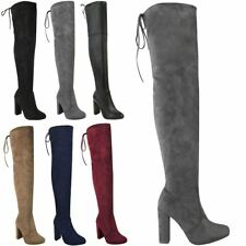 Item 3 Womens Las Thigh High Boots Over The Knee Party Stretch Block Mid Heel Size