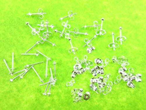 100-500X Ear Pin Pairs 925 Sterling Silver Stud Earrings Findings Supplies Beads