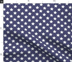 Stars-Patriotic-Memorial-Day-Blue-White-Spoonflower-Fabric-by-the-Yard