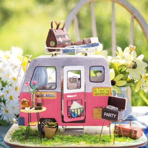 Faça você mesmo Casa De Boneca Em Miniatura Robotime Modelo 1:24 com kits de móveis presente Artesanal