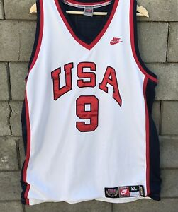 check out c26e4 b9e37 Details about NIKE USA BASKETBALL #9 MICHAEL JORDAN 1984 Olympics Authentic  Jersey White XL