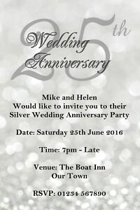 Image Is Loading Personalised Invitations Wedding Anniversary Party Invites Silver 25th