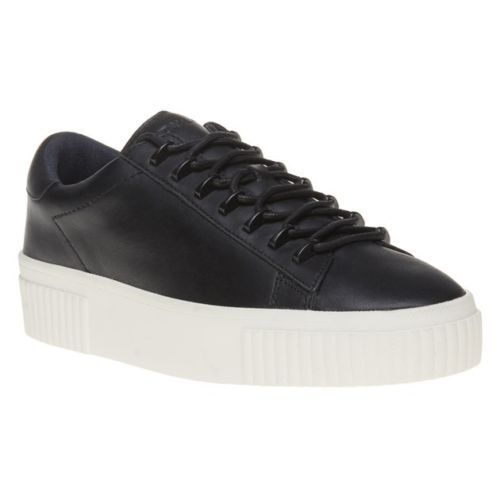 130 size 10 KENDALL and KYLIE Reese Black Leather Sneakers Womens shoes NEW