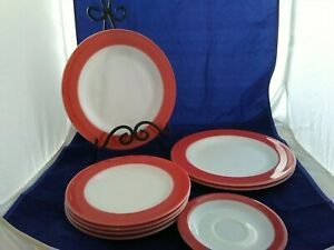 "8 Vintage Pink Pyrex Flamingo Rim pieces-four-8"" Salad, three-10"" Plates, saucer"