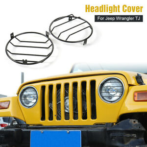 Headlight-Cover-Guard-Lights-Protector-Lamp-Guard-For-Jeep-Wrangler-TJ-1997-2006