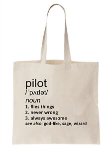 Pilot Definition Funny Tote Bag Shopper Gift Plane Helicopter Air Cool Work Job