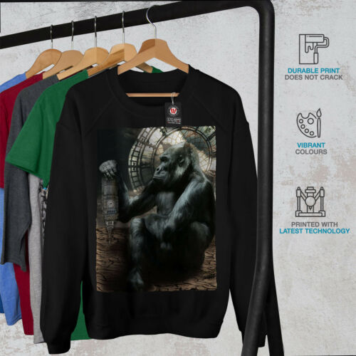 Wellcoda Tower Monkey UK Womens Sweatshirt Monkey Casual Pullover Jumper